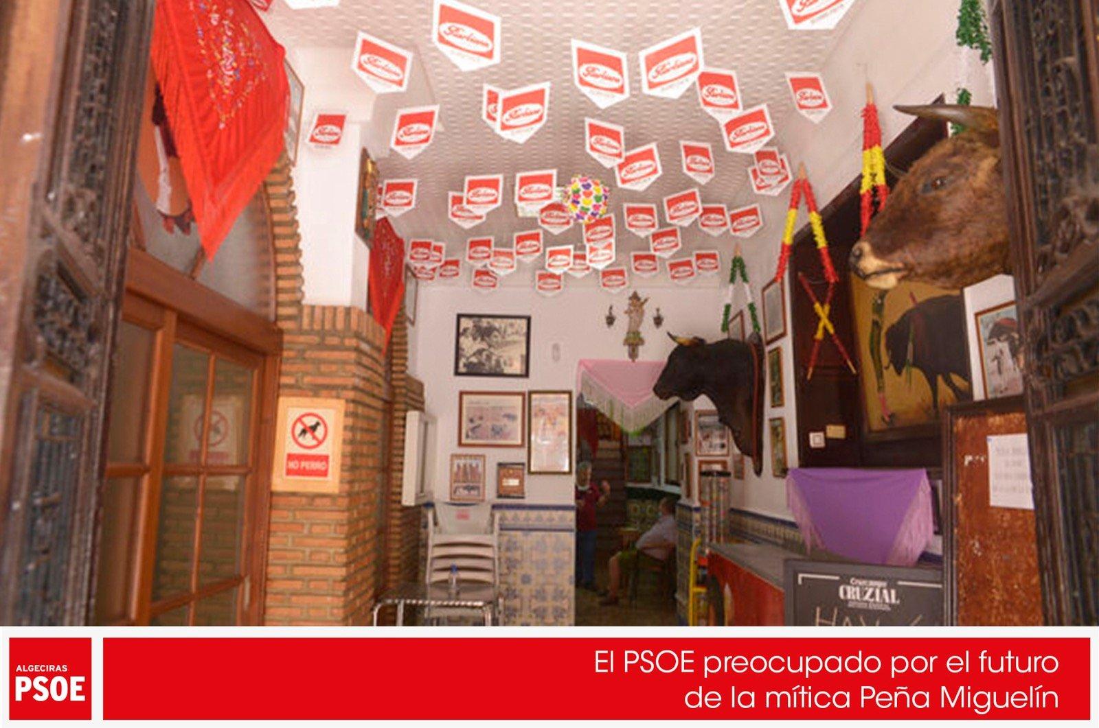 El PSOE, preocupado por el futuro de la mítica Peña Miguelín