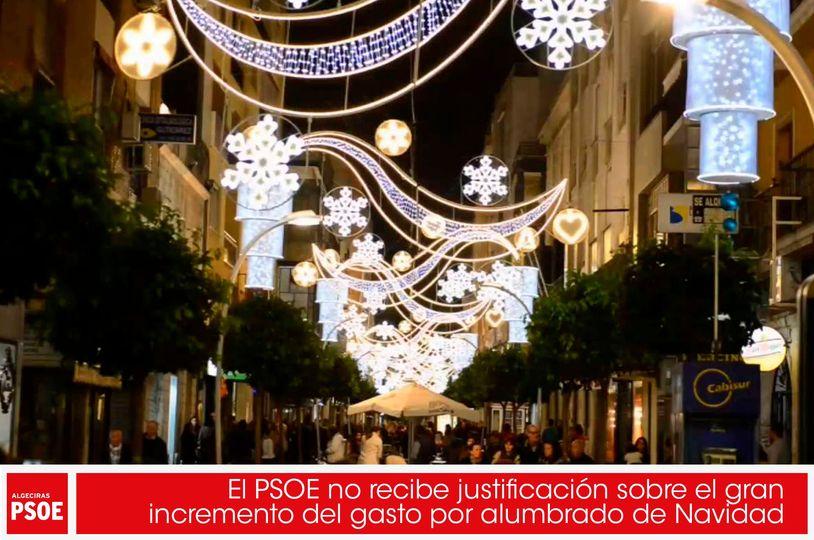 El PSOE no recibe justificación sobre el gran incremento del gasto por alumbrado de Navidad