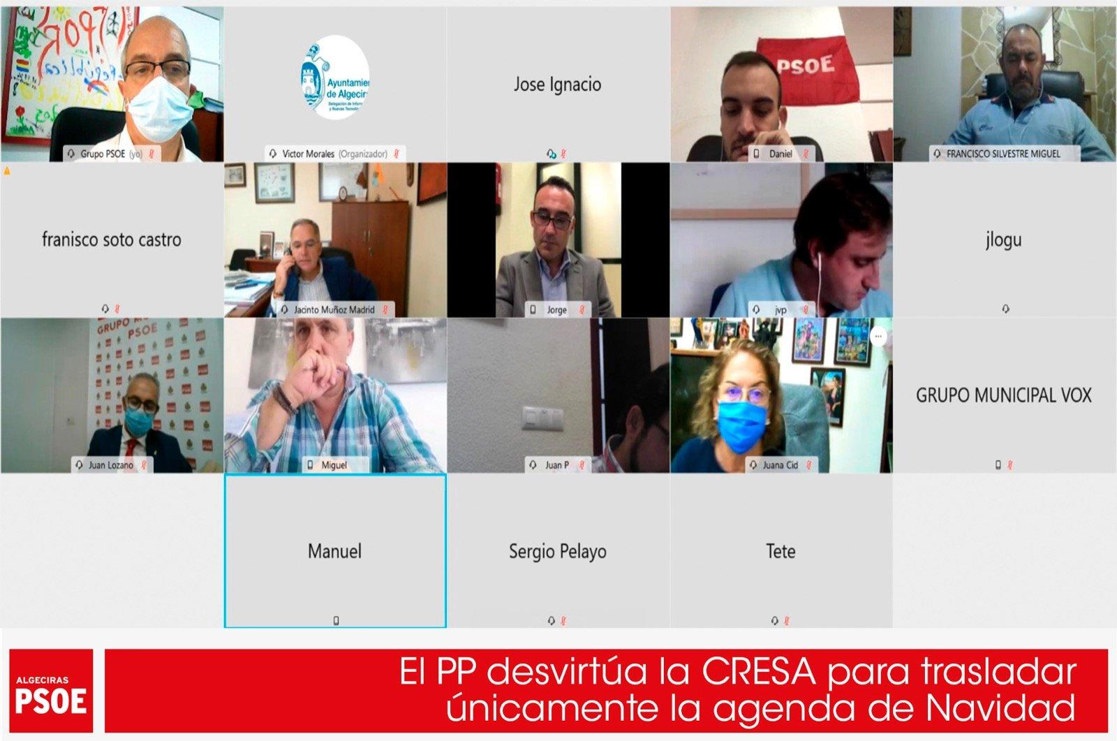 El PP desvirtúa la CRESA para trasladar únicamente la agenda de Navidad
